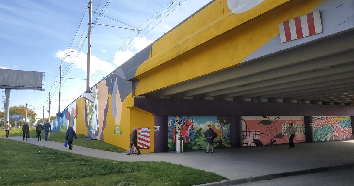 Уличные художники расписали эстакаду у «Меги» в Новосибирске