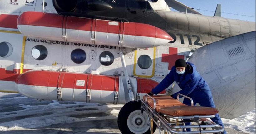 Троих пострадавших в пожаре в Новосибирской области детей отправили на вертолёте в областную больницу