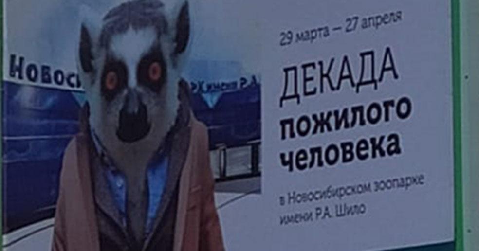 Новосибирский зоопарк прокомментировал скандальный баннер с лемуром в пиджаке